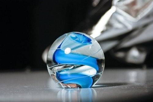 Blue glass paperweights