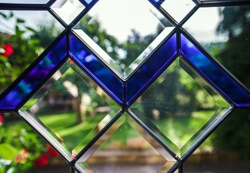 Cobalt blue glass panels