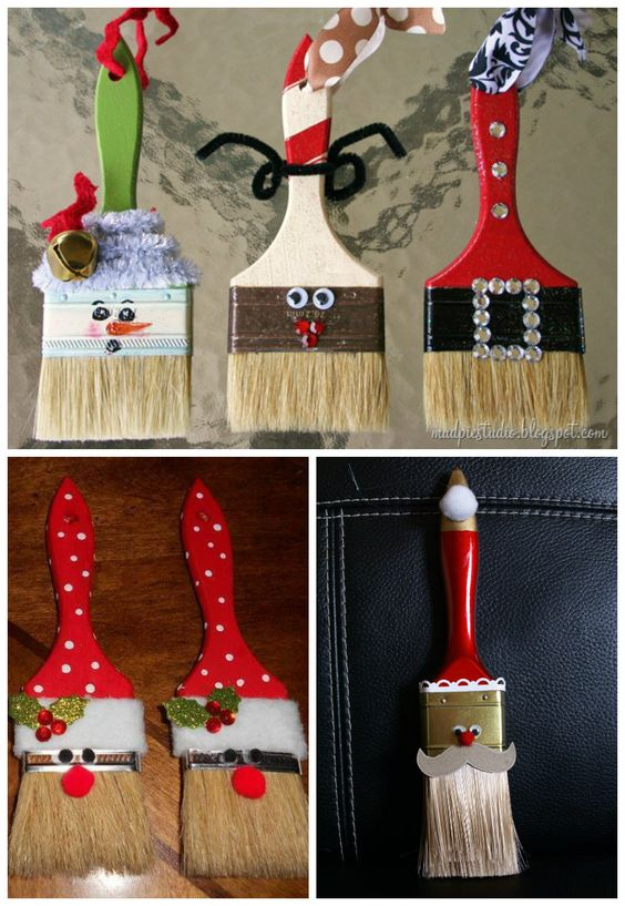 Christmas painted paintbrushes