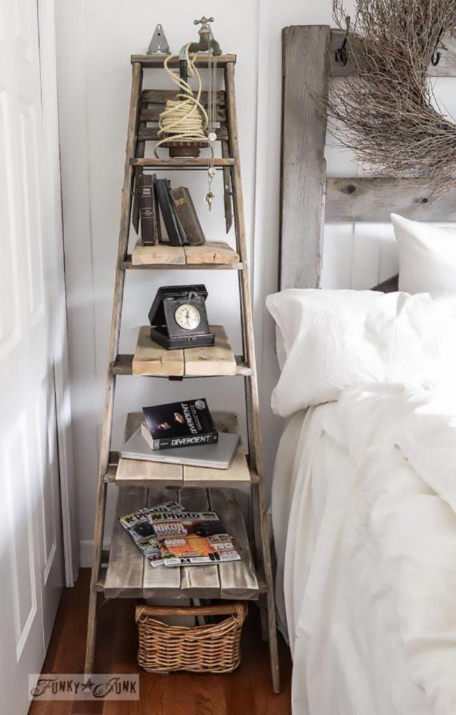 A stepladder nightstand