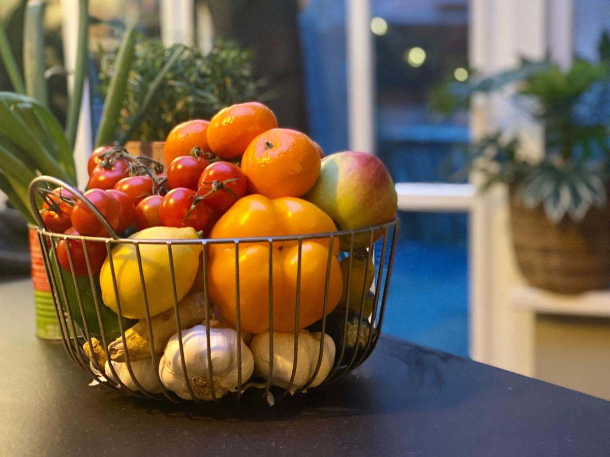 A kitchen vegetable basket