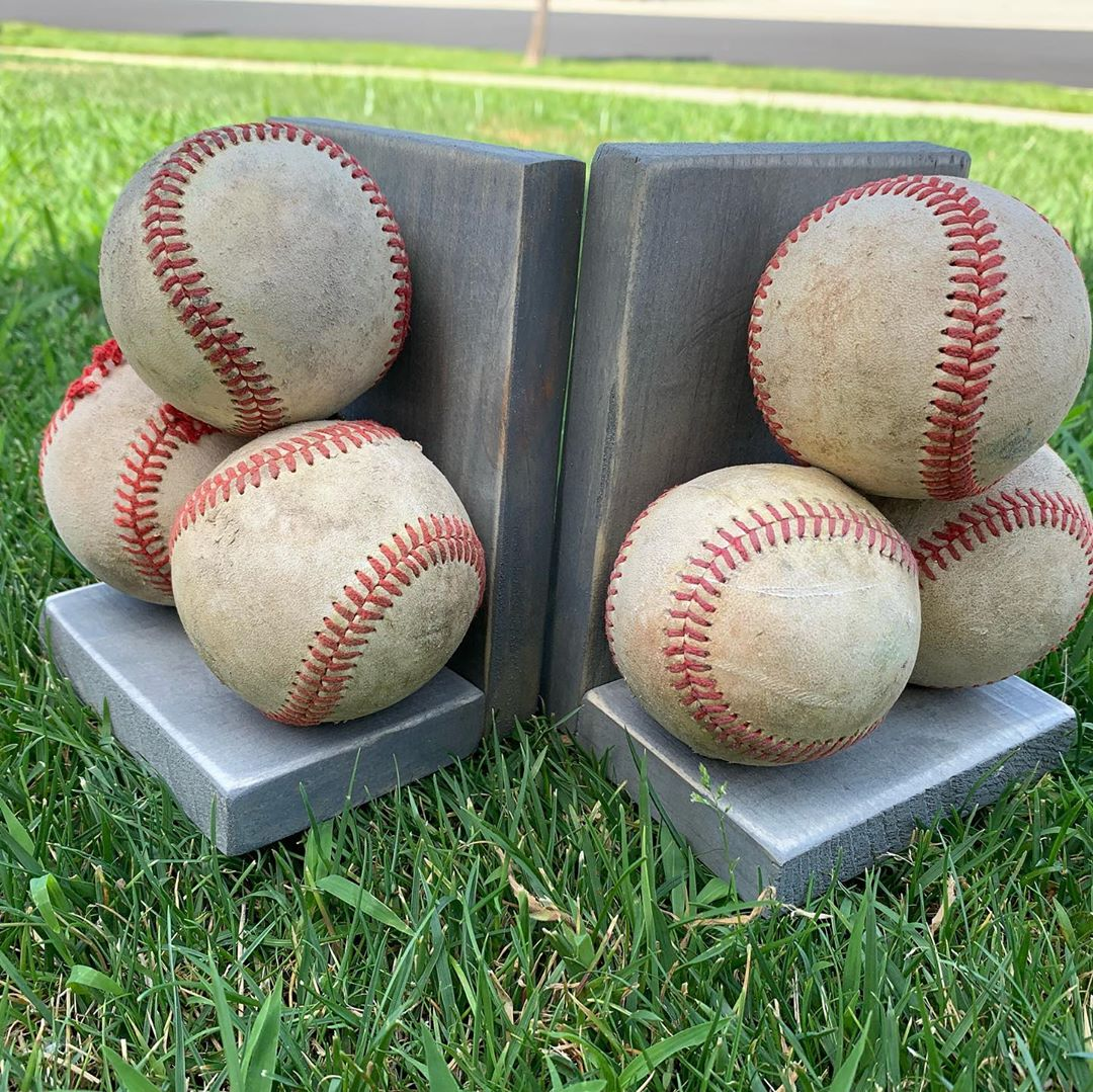A sporting theme baseball bookends