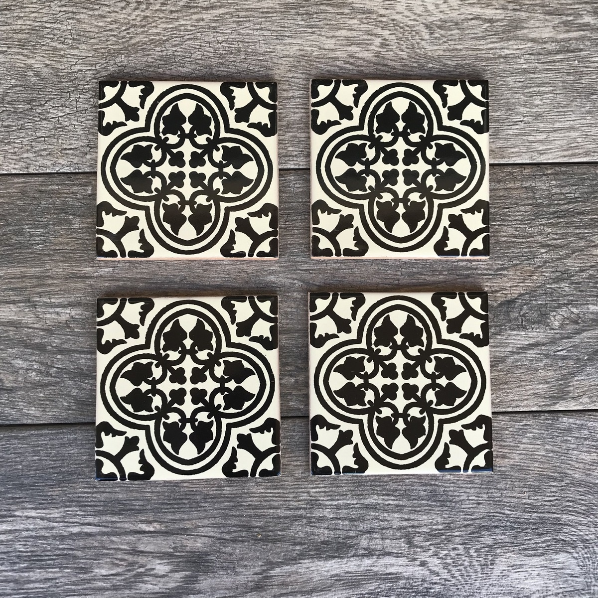 Stencil-painted tile coasters