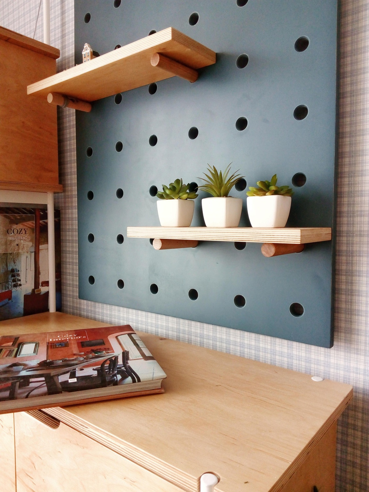 Try pegboard shelving