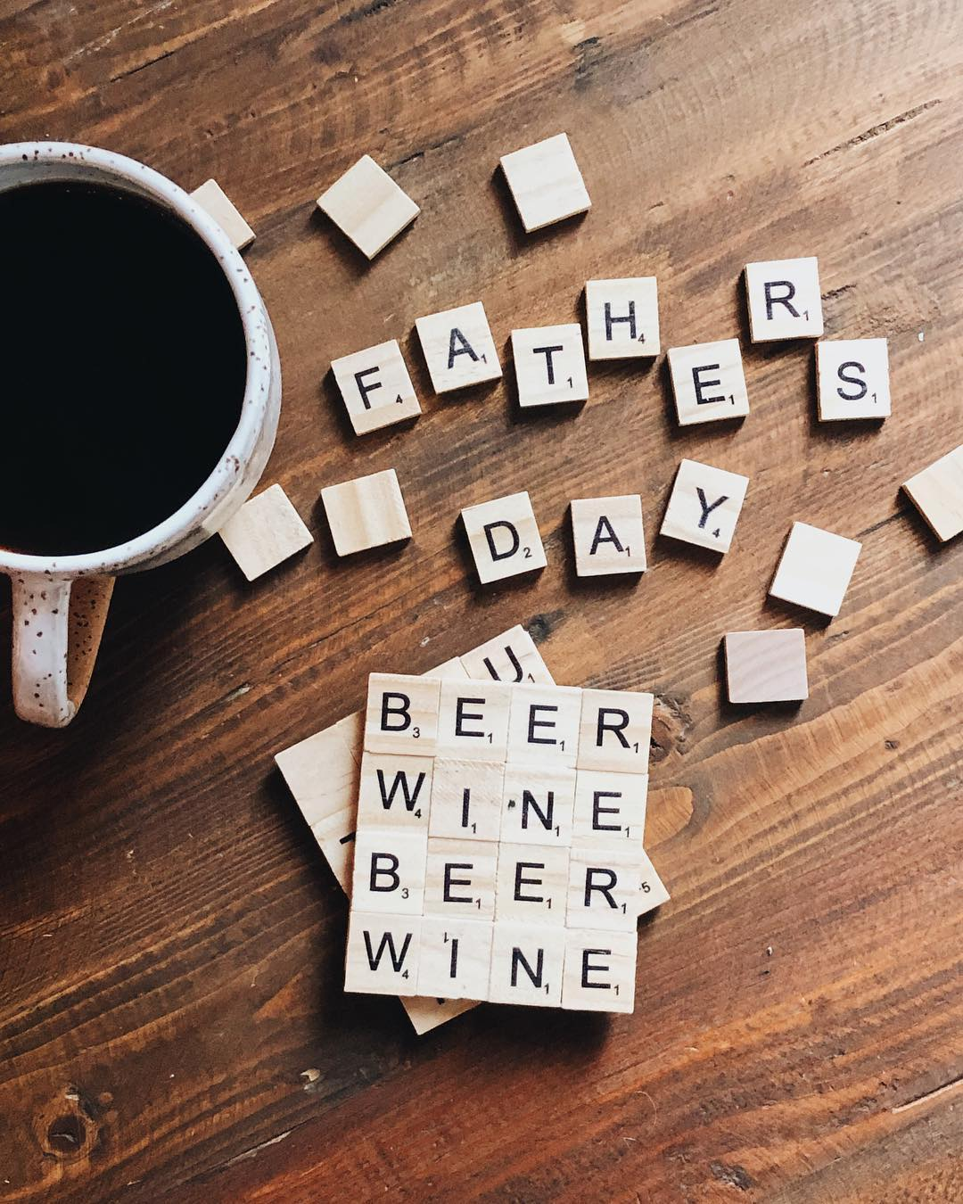 Coasters made out of Scrabble tiles